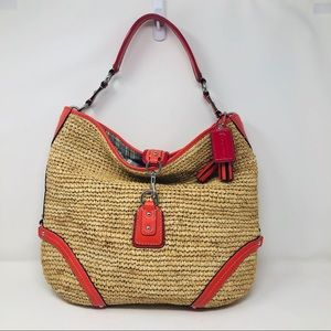 Coach straw dog leash hobo shoulder bag